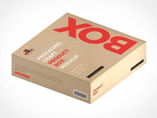 Craft Cardboard Box Packaging PSD Mockup