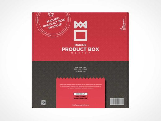 Die-Cut Mailer Product Box PSD Mockup