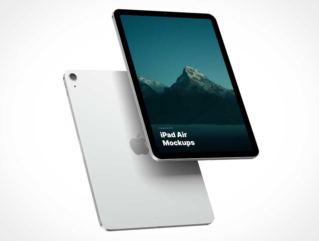 Floating iPad Air Tablets Front & Back PSD Mockup