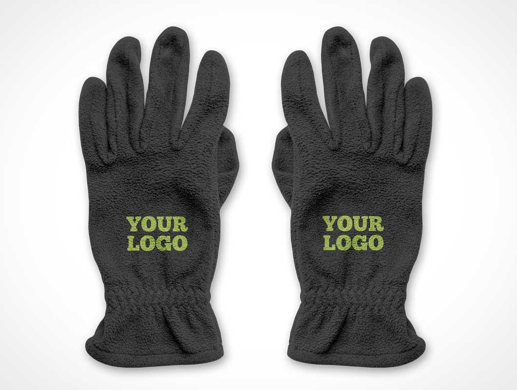 Fuzzy Winter Gloves PSD Mockup