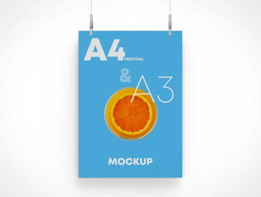 Hanging A3 Poster PSD Mockup