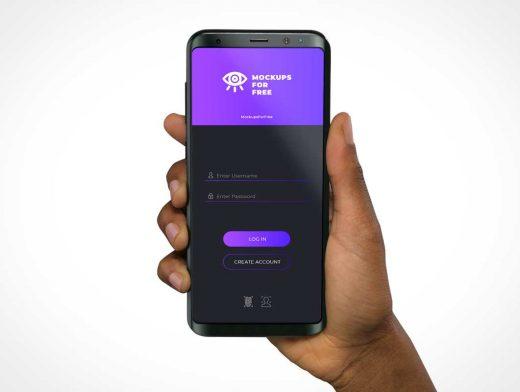 Android Smartphone Handheld PSD Mockup