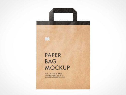 Brown Paper Bag Folded Flat PSD Mockup