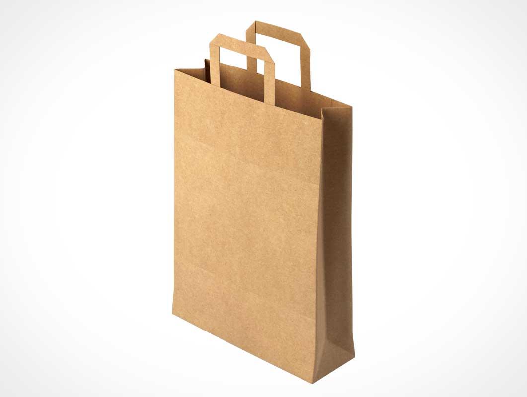 Brown Paper Shopping Bag & Handles PSD Mockup