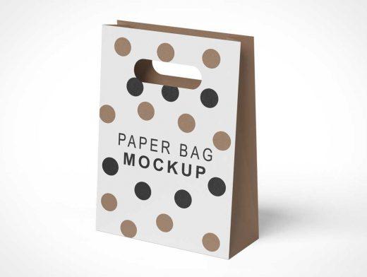 Grip Hole Paper Shopping Bag PSD Mockup