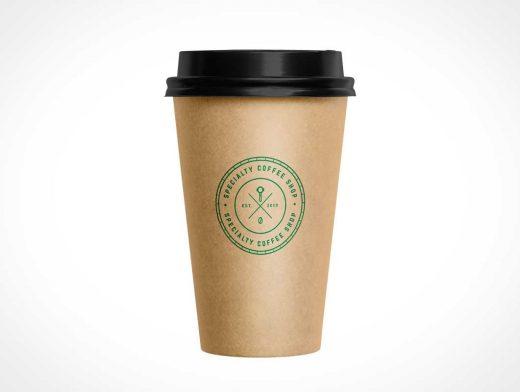 Kraft Coffee Cup & Lid PSD Mockups