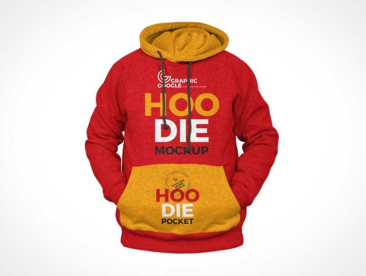 Long Sleeve Hoodie Front & Back PSD Mockup