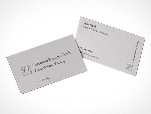Two Floating Business Cards PSD Mockup