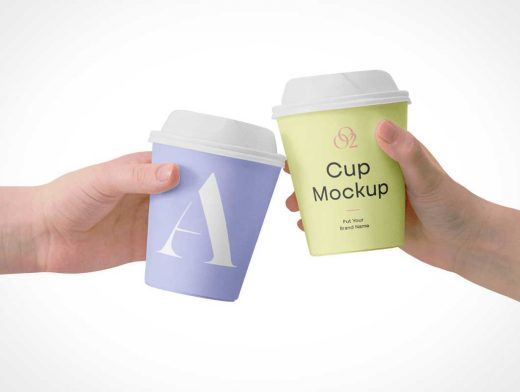 Coffee Cups In Air PSD Mockups