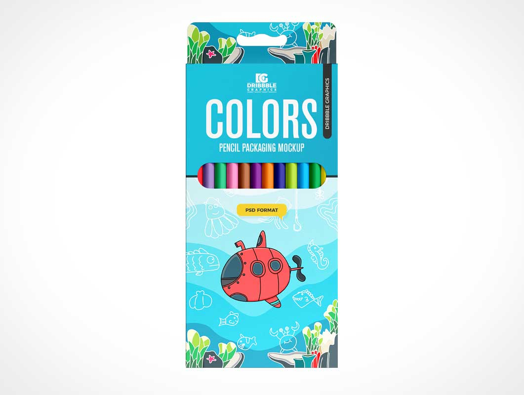 Coloring Pencil Crayon Box PSD Mockups