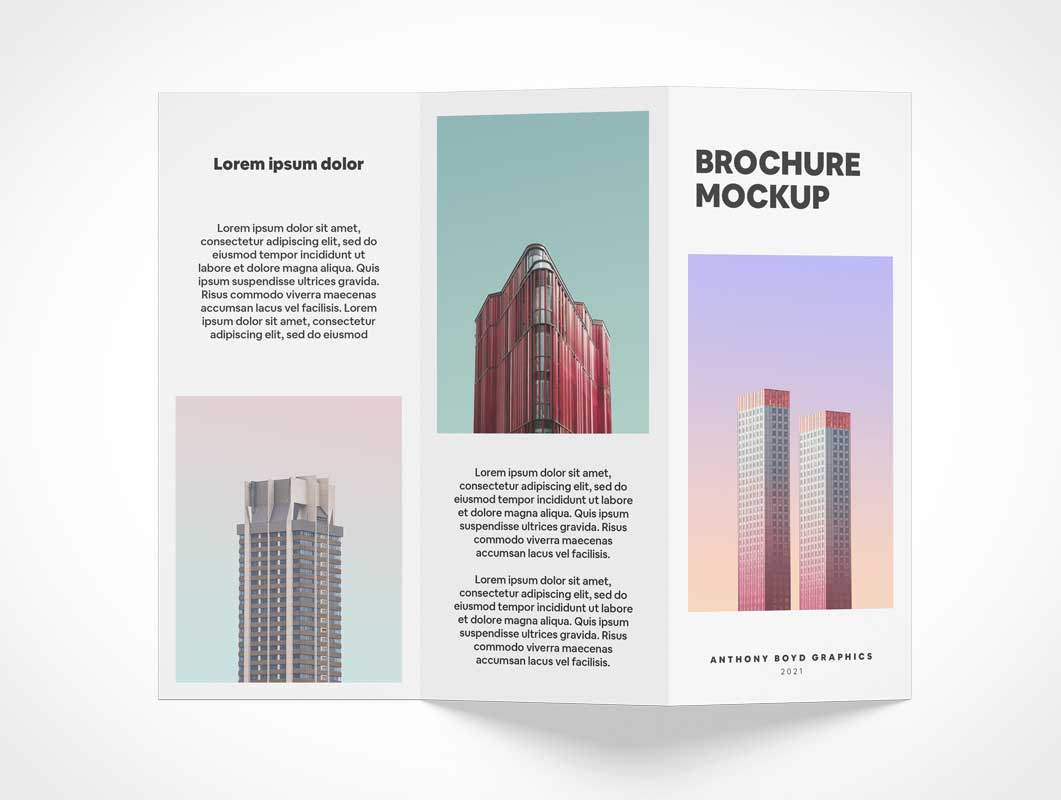 Folded 3 Panel Brochure PSD Mockups