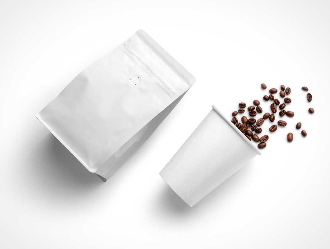 Coffee Beans Packaging Pouch & Paper Cup PSD Mockups