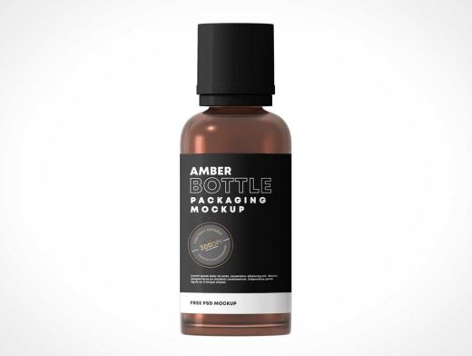 Glass Amber Bottle PSD Mockups