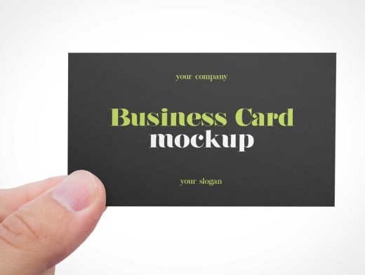 Hand Held Business Card Front PSD Mockups