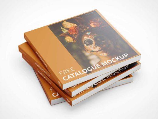 Softcover Square Catalog Book PSD Mockups