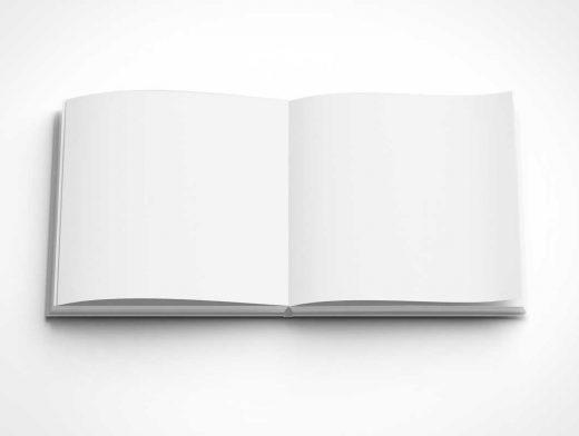 Square Hardbound Open Book PSD Mockups
