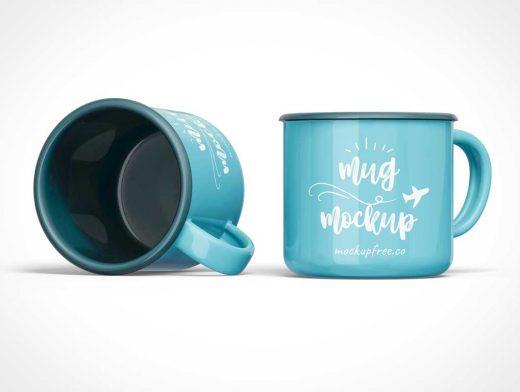 Tin Camping Coffee Cup PSD Mockups