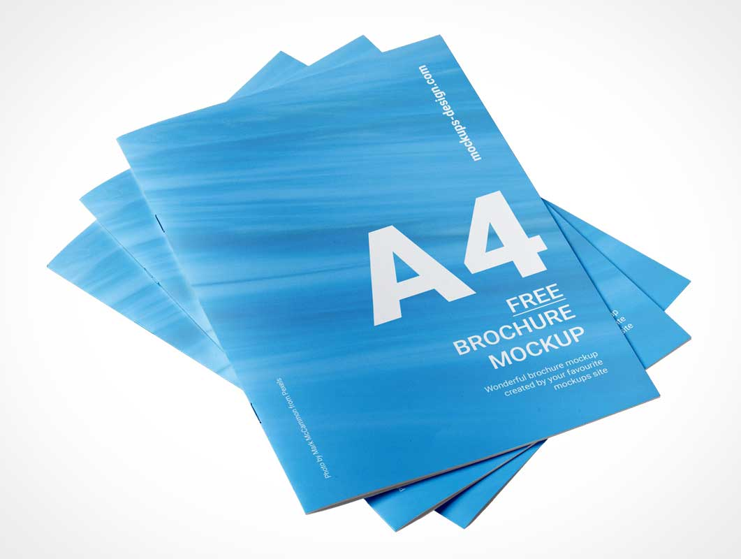 A4 Brochure Cover Stack PSD Mockups