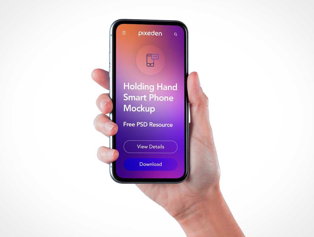 Hand Held Mobile Smartphone Screen PSD Mockups