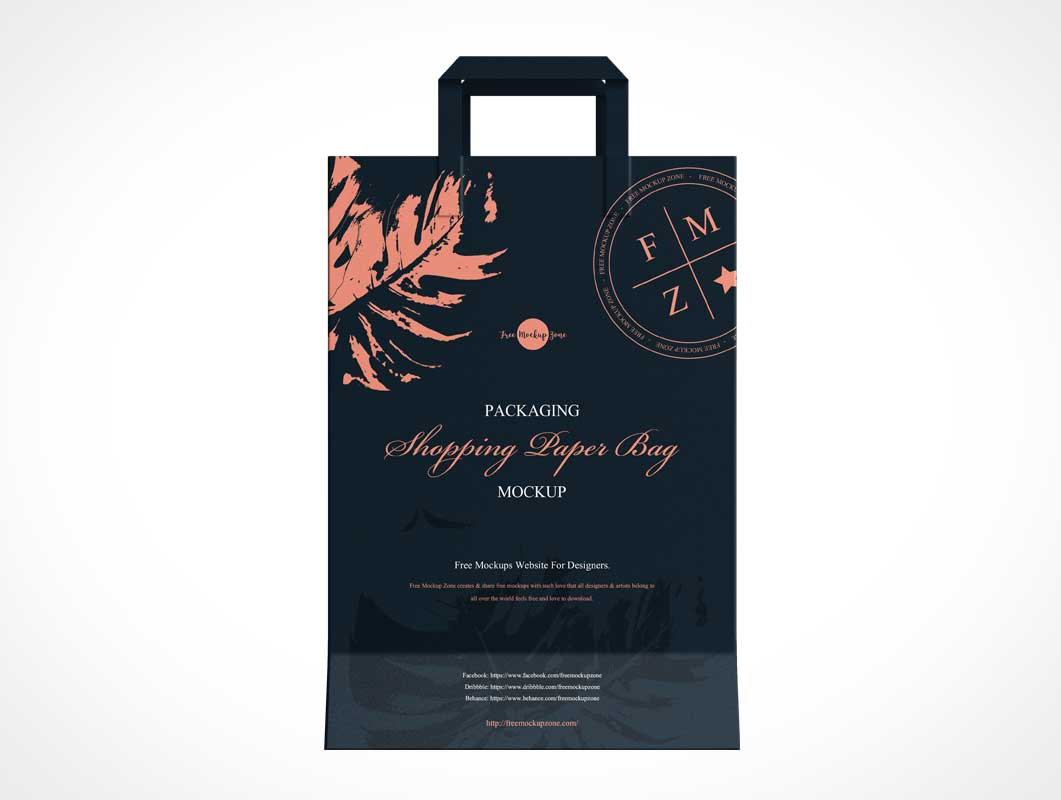 Paper Shopping Bag & Carry Handles PSD Mockups
