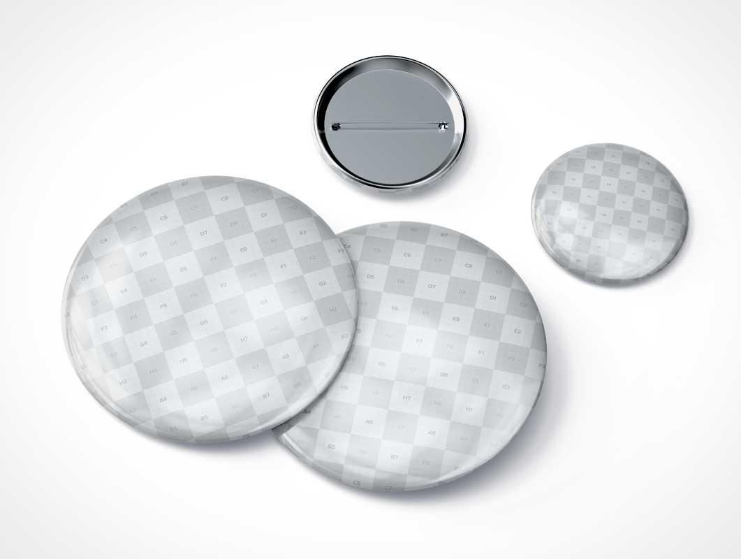 Round Pin Button Flair PSD Mockups