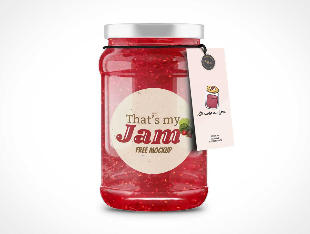 Tagged Glass Jam Jar PSD Mockups