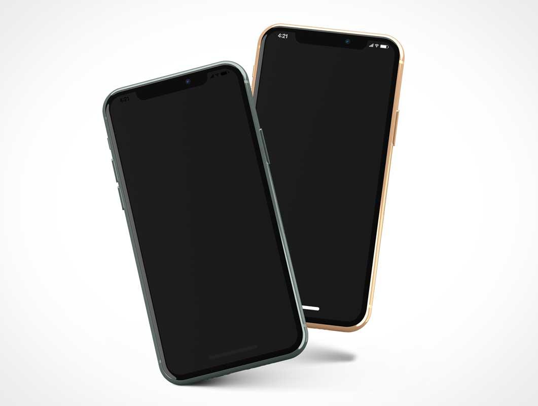 Floating iPhone 11 Mobile Smartphones PSD Mockups