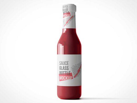 Glass Sauce Bottle PSD Mockups