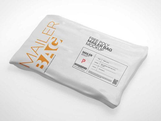 Shrink Wrap Poly Mailer Bag PSD Mockup