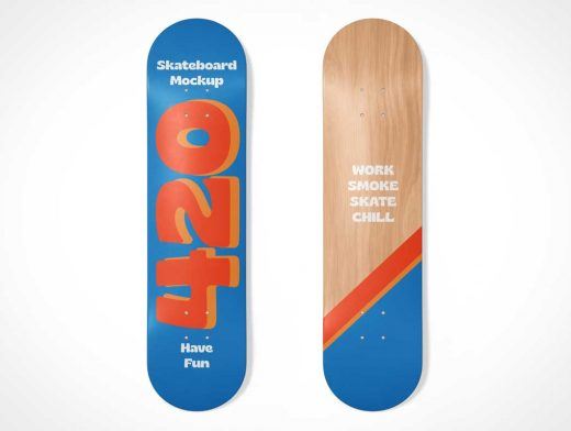 Skateboard Underside Deck PSD Mockups
