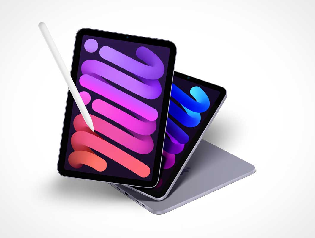 Free iPad Mini & Stylus PSD Mockups