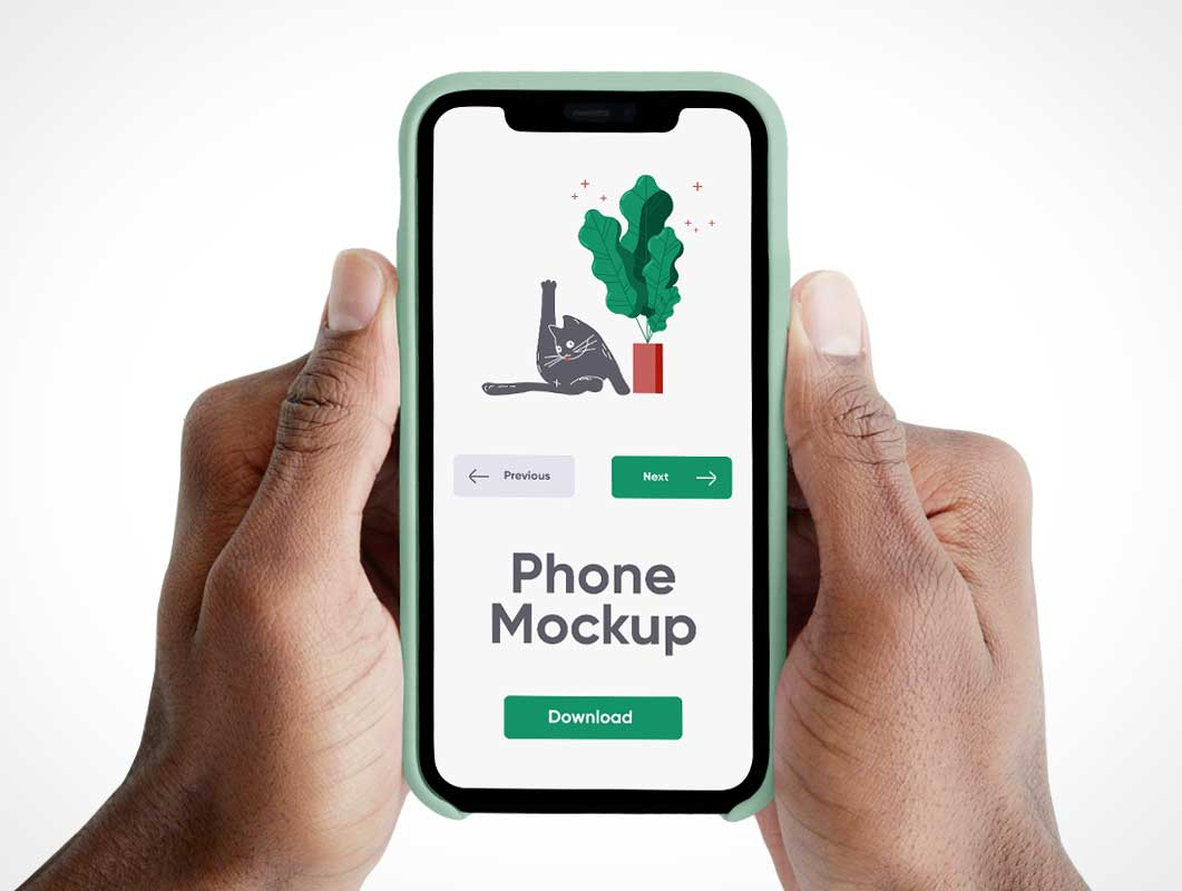 Handheld iPhone & Case PSD Mockups