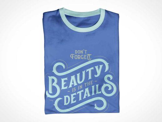 Round Collar T-Shirt Clothing PSD Mockups
