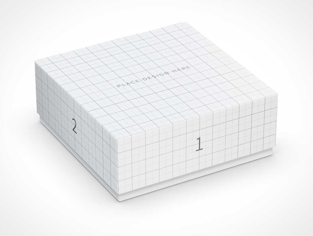 Square Box Slip Lid Gift Packaging PSD Mockups