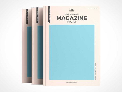 Standing Brand Magazine Cover PSD Mockups