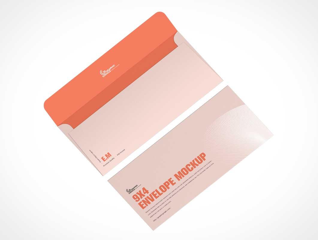 Envelope & 9x4 Paper Insert PSD Mockups