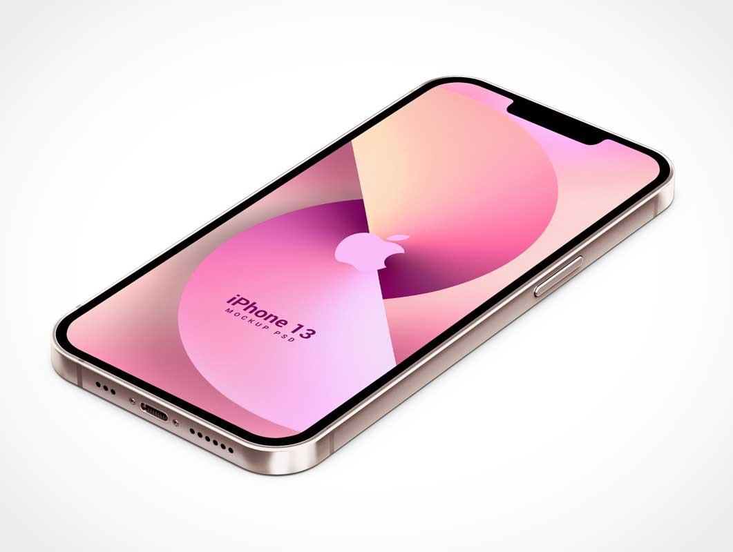 Isometric iPhone 13 PSD Mockups
